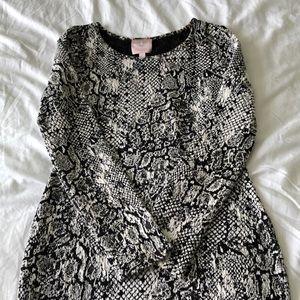 Snake Skin Patterned Long Sleeve Dress